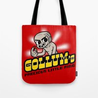 lord of the ring Tote Bags featuring Gollum's Precious Little Ring by adho1982