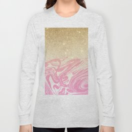 Pink white faux gold glitter modern marble Long Sleeve T-shirt