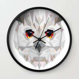 Geometric White Owl Wall Clock