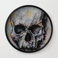 medieval Wall Clocks featuring Medieval Skull by Michael Creese
