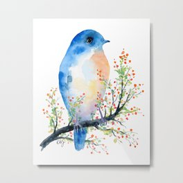 Watercolor bluebird on Berry Branch Metal Print