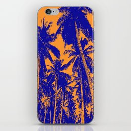 Palm Trees Design in Blue and Orange iPhone Skin