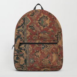 Flowery Boho Rug I // 17th Century Distressed Colorful Red Navy Blue Burlap Tan Ornate Accent Patter Backpack