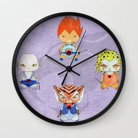 thundercats Wall Clocks featuring A Boy - A Girl - Thundercats by Christophe Chiozzi