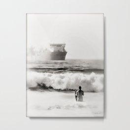 B&W Beach Scene 4 Metal Print