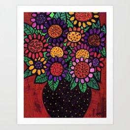 Playful Posies - Vase of Whimsical Flowers Art Print