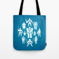 heroes Tote Bags featuring Plastic Heroes by powerpig