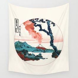 Hokusai View Of Mount Fuji With Eruption Minimalist Wall Tapestry