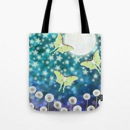 the moon, stars, luna moths, & dandelions Tote Bag