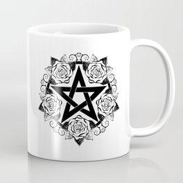 Black Pentagram with Roses Coffee Mug