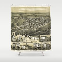 Aerial View of Shenandoah, Pennsylvania (1889) Shower Curtain