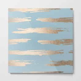 Abstract Paint Stripes Gold Tropical Ocean Sea Blue Metal Print
