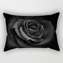Black Rose with dew drops - Black beauty Rectangular Pillow