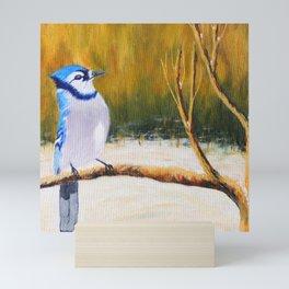 Elegance Blue Jay   Élégance geai bleu Mini Art Print