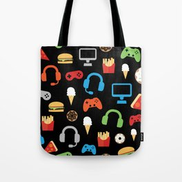 Video Game Party Snack Pattern Tote Bag