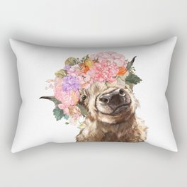 Highland Cow with Flower Crown Rectangular Pillow