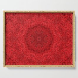 Red Roses Mandala Fractal Graphic Serving Tray