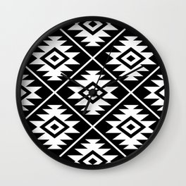 Aztec Symbol Pattern White on Black Wall Clock