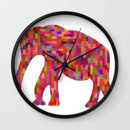 Bright orange mosaic elephant Wall Clock