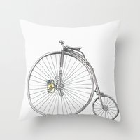 bicycle Throw Pillows featuring Bicycle by Michelle Krasny
