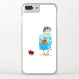 Grandma and her dog Clear iPhone Case