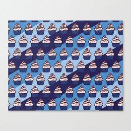July 4th Cupcake Pattern Blue Diagonal Stripes Canvas Print
