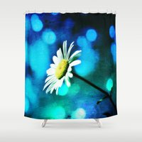 malachite Shower Curtains featuring Azurite Malachite Daisy  by minx267