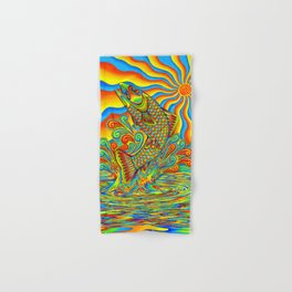 Psychedelic Rainbow Trout Fish Hand & Bath Towel