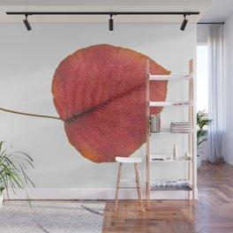 Leaf Art in Red Wall Mural