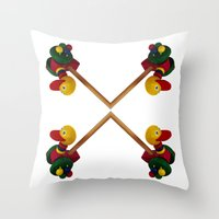 duck Throw Pillows featuring duck by Кaterina Кalinich