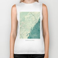 vintage map Biker Tanks featuring Barcelona Map Blue Vintage by City Art Posters