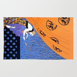 "Art Deco Illustration ""Fall"" by Erté Rug"