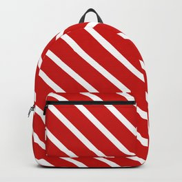 Valentines Red Diagonal Stripes Backpack