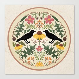 Crows, Wild Roses, Thistles And Sunflowers Canvas Print