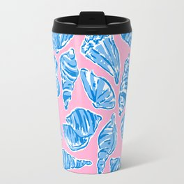 Blue Shells on Pink Travel Mug