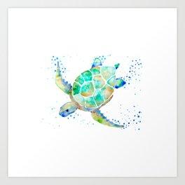 Turtle blue Art Print