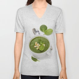 Traditional Spinach cream soup with croutons and fresh spinach leaf on top Unisex V-Neck