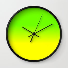 Neon Green and Neon Yellow Ombré  Shade Color Fade Wall Clock