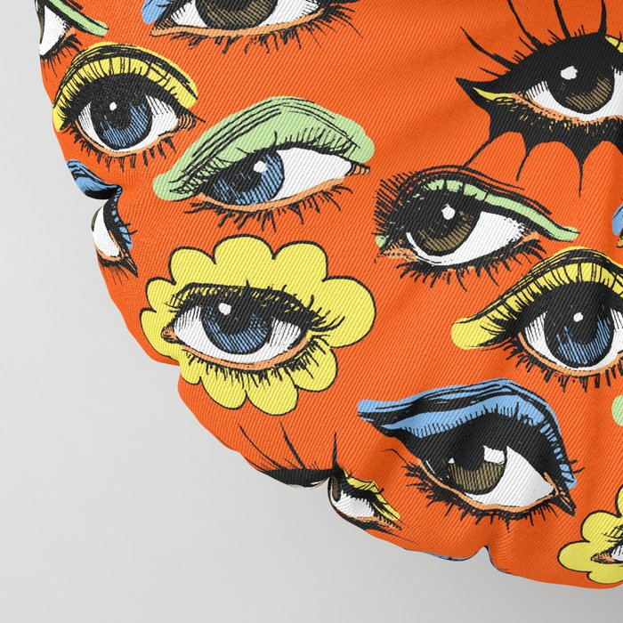 60s Eye Pattern Floor Pillow