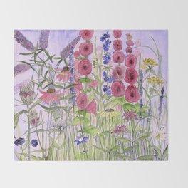 Watercolor Wildflower Garden Flowers Hollyhock Teasel Butterfly Bush Blue Sky Throw Blanket