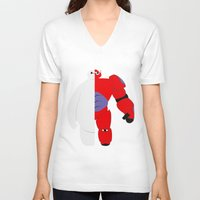 baymax V-neck T-shirts featuring BayMax by Brieana