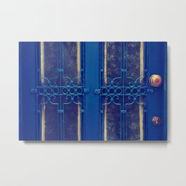 blue door in bodrum Metal Print