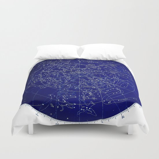 Constellation Stars Blue Space Map Duvet Cover By Mapmaker