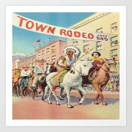 Vintage Western Town Rodeo Parade Art Print
