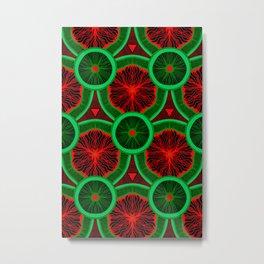 red and greenery kivi pattern Metal Print