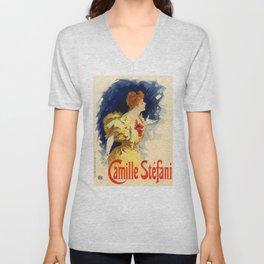 Belle Epoque vintage poster, Camille Stefani Unisex V-Neck