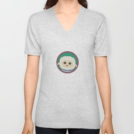Cute Sheep with purple Circle Unisex V-Neck