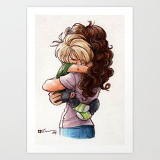Scorpius (or de-aged!Draco) and Hermione Art Print