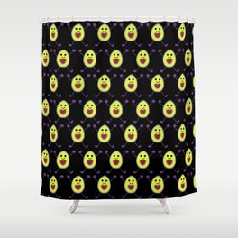 Happy Avocados on Black Shower Curtain