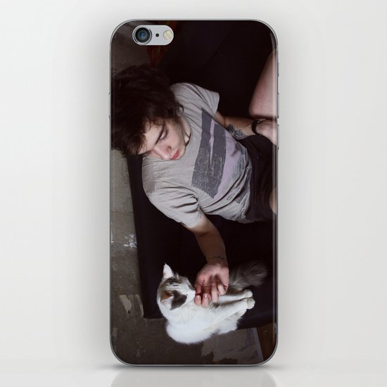 boy with cat iPhone & iPod Skin